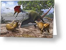 A Large Bakonydraco Pterosaur Attacking Greeting Card by Sergey Krasovskiy