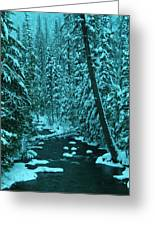 A Leaning Tree Over The Little Naches River Greeting Card