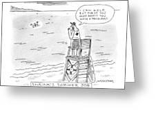 A Lifeguard Shouts At A Drowning Man Greeting Card