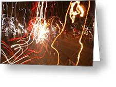 A Light Dance In Old Town Greeting Card