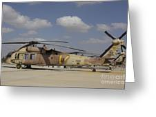 A Line Of Uh-60l Yanshuf Helicopters Greeting Card