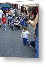 A Little Boy Dancing At The 200th Anniversary Of St. Patrick Old Cathedral Greeting Card