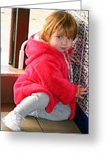A Little Girl In Red Greeting Card