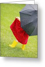 A Little Girl Walking In The Rain While Greeting Card