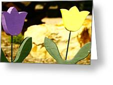 A Little Yellow And Purple Greeting Card by Alexandra  Rampolla