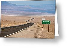 A Long Road Through Death Valley Greeting Card