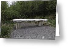 A Long Stone Section Over Wooden Stumps Forming A Rough Sitting Area Greeting Card