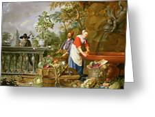 A Maid Washing Carrots At A Fountain Greeting Card