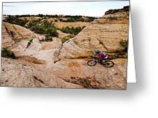 A Male And Female Mountain Biker Ride Greeting Card