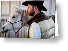A Male Ranch Hand In A Cowboy Hat Greeting Card