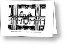 A Man And A Woman Are Sitting In The Balcony Greeting Card