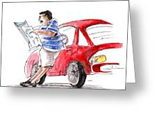 A Man And His Car And His Newspaper Greeting Card