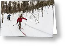 A Man And Woman Cross Country Skiing Greeting Card