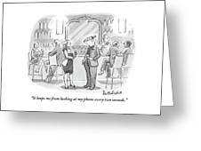 A Man And Woman Talk At The Bar Greeting Card