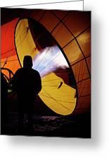 A Man As He Inflates A Hot Air Balloon Greeting Card