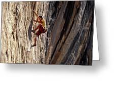 A Man Climbing A Big Wall In El Potrero Greeting Card