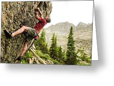 A Man Clinging To Rock Face In The Greeting Card