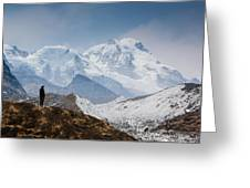 A Man Contemplates The Size Of Kanchenjunga Greeting Card