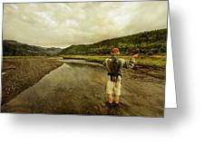 A Man Flyfishing On A River Greeting Card
