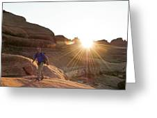 A Man Hiking In The Needles District Greeting Card