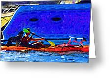A Man His Kayak And His Dogs Greeting Card