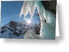 A Man Ice Climbing Louise Falls Greeting Card