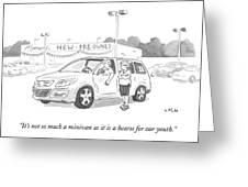 A Man In A Minivan Speaks To A Woman At A Car Greeting Card