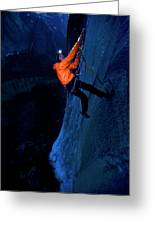 A Man Jumaring To A Route On El Cap Greeting Card
