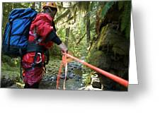 A Man Lowers A Rope For Canyoning Greeting Card