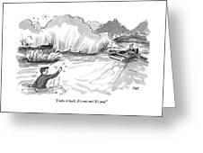 A Man Marooned In A Marsh Shouts Greeting Card
