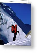A Man Mountaineering In The Alps Greeting Card