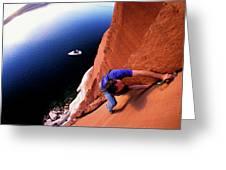 A Man Rock Climbing Greeting Card