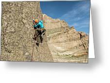 A Man Rock Climbing In Rocky Mountain Greeting Card
