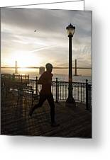 A Man Running On A Dock In The Harbour Greeting Card