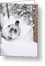 A Man Skiing Powder In The Trees Greeting Card