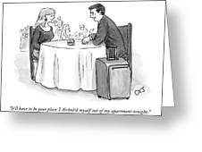 A Man Speaks To A Woman On A Date At A Restaurant Greeting Card