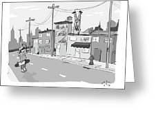 A Man Suspends Upside Down From Telephone Wires Greeting Card