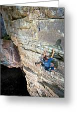 A Man Tackles An Overhanging Sandstone Greeting Card