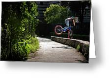 A Man With A Bike Standing On The Front Greeting Card