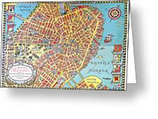 A Map Of Old Boston In The Commonwealth Of Massachusetts Greeting Card