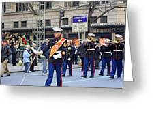 A Marine Band Marching In The 2009 New York St. Patrick Day Parade Greeting Card