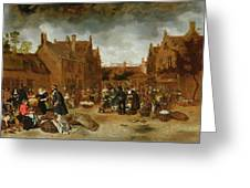 A Marketplace In Winter, 1653 Greeting Card