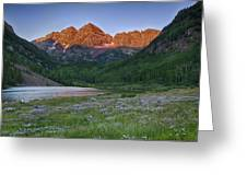 A Maroon Morning - Maroon Bells Greeting Card by Photography  By Sai