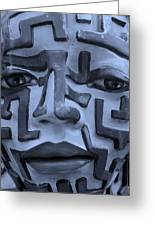 A Maze Ing Face 1 Cyan Greeting Card