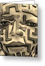 A Maze Ing Face 1 Sepia Greeting Card