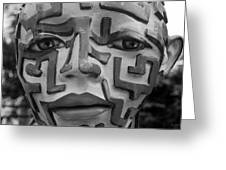 A Maze Ing Face Black And White Greeting Card