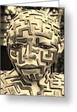 A Maze Ing Man 3 Sepia Greeting Card