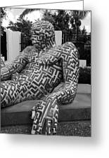 A Maze Ing Man 5 Black And White Greeting Card