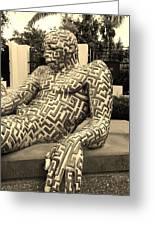 A Maze Ing Man 5 Sepia Greeting Card