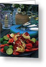 A Meal With Lobster And Limes Greeting Card